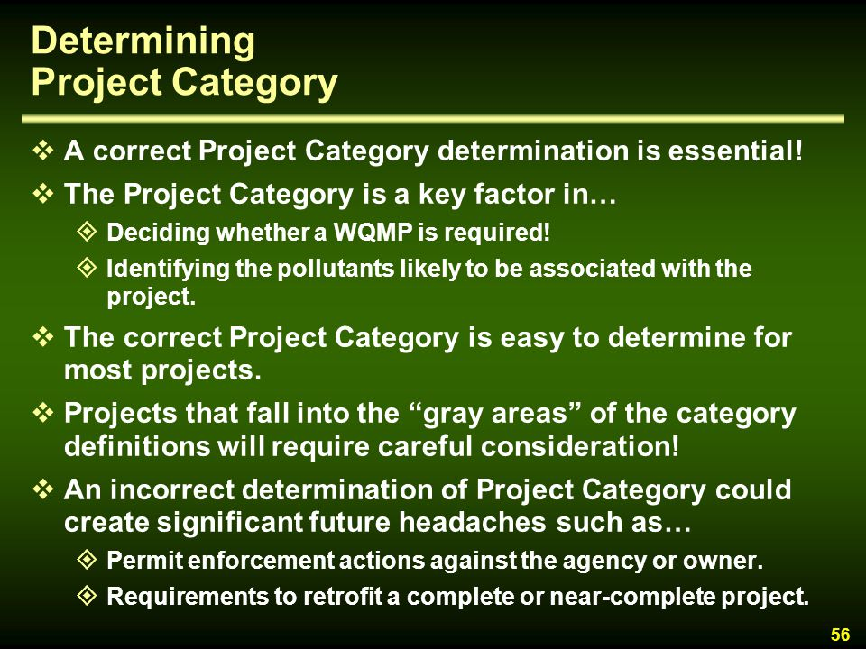 Determining Project Category