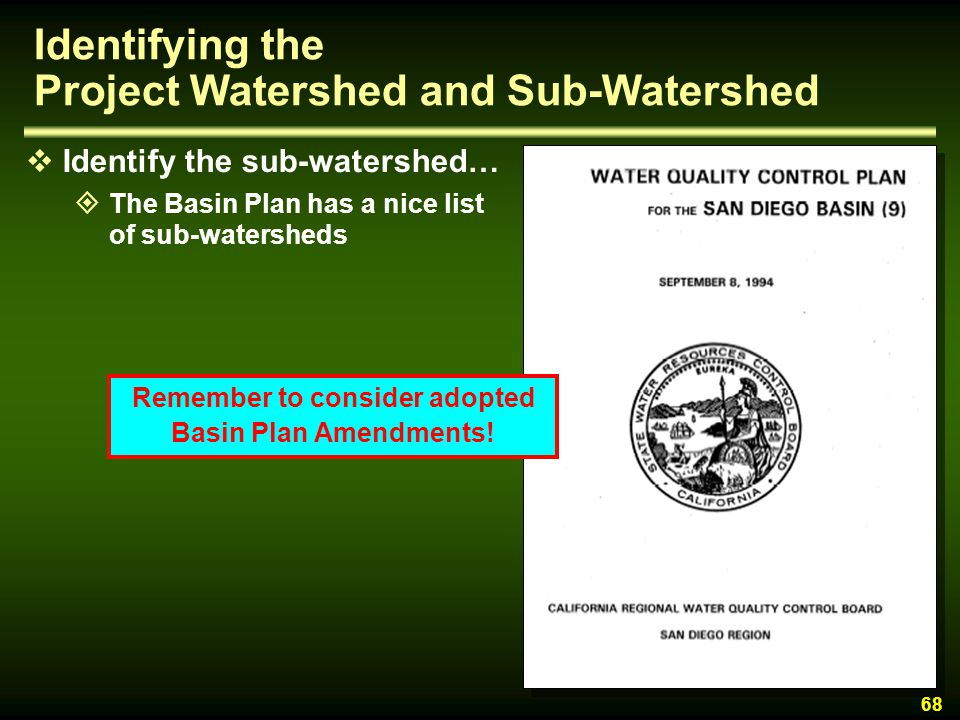 Identifying the Project Watershed and Sub-Watershed
