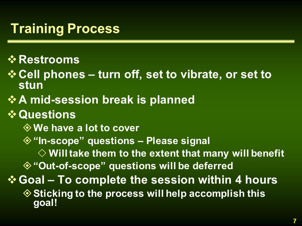 Training Process Restrooms