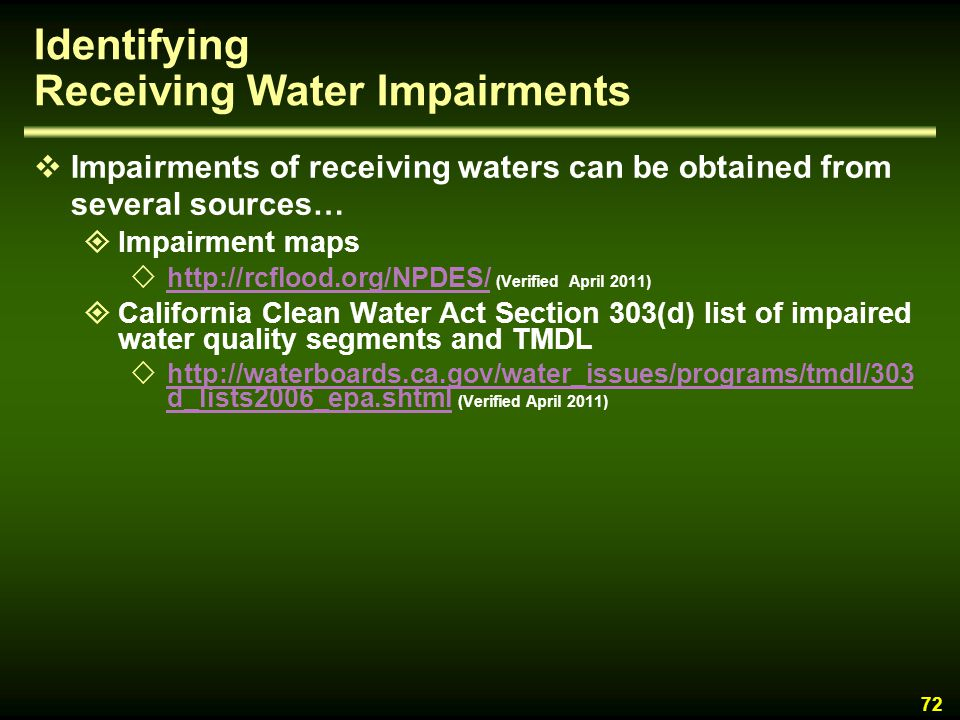 Identifying Receiving Water Impairments