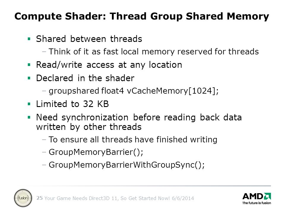 Compute Shader: Thread Group Shared Memory