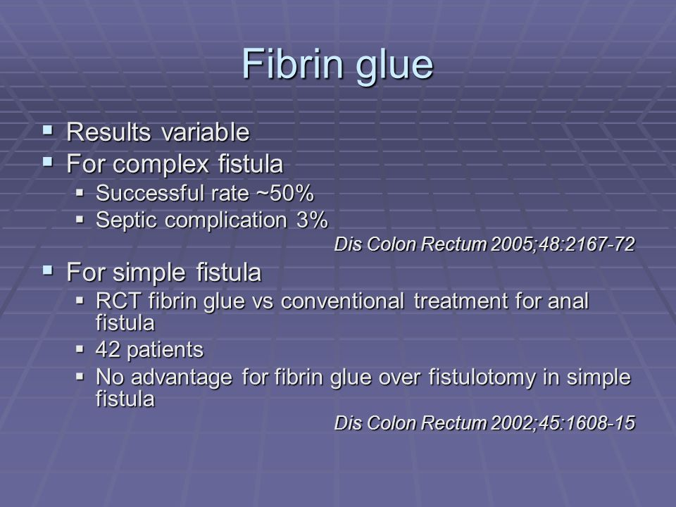 Fibrin glue Results variable For complex fistula For simple fistula