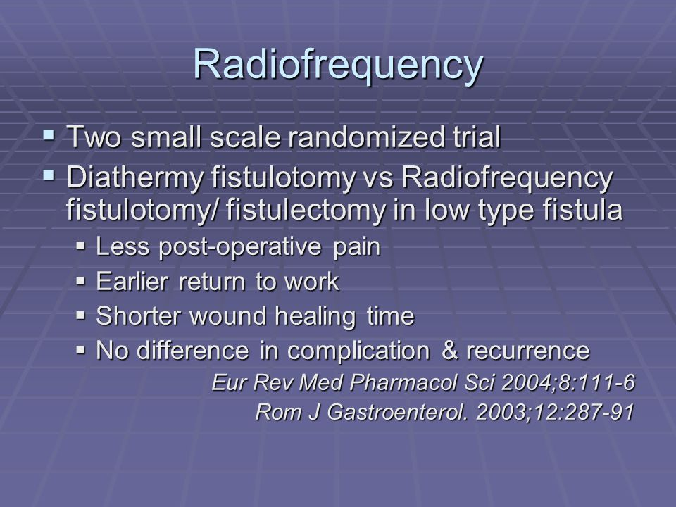 Radiofrequency Two small scale randomized trial