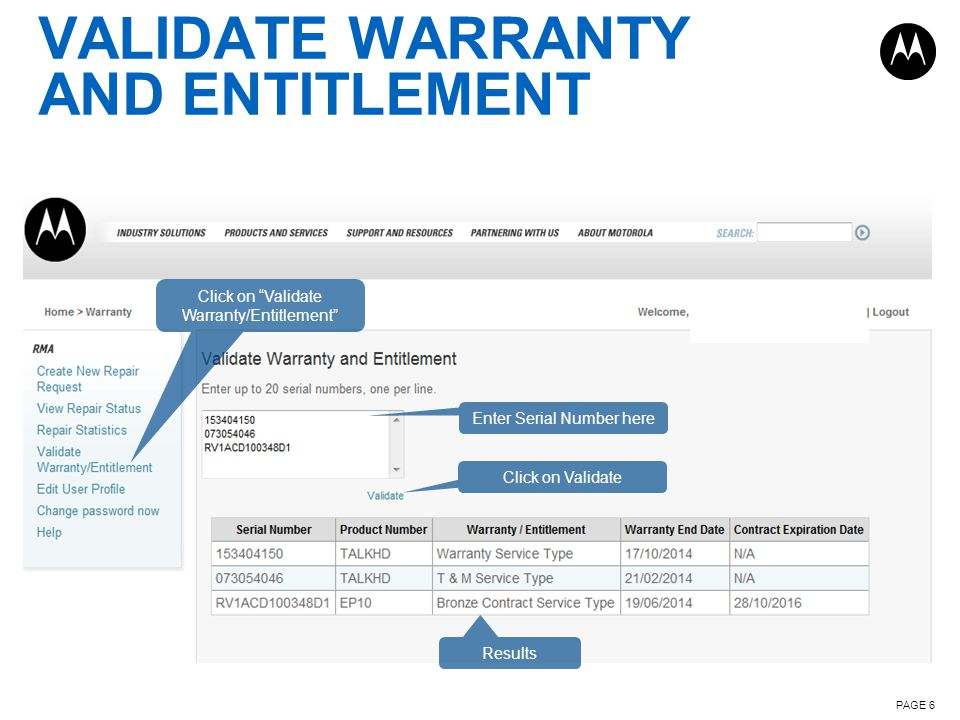 Validate Warranty and Entitlement