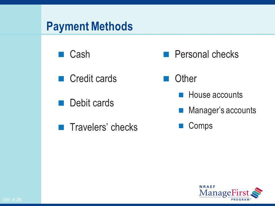 Payment Methods Cash Credit cards Debit cards Travelers' checks