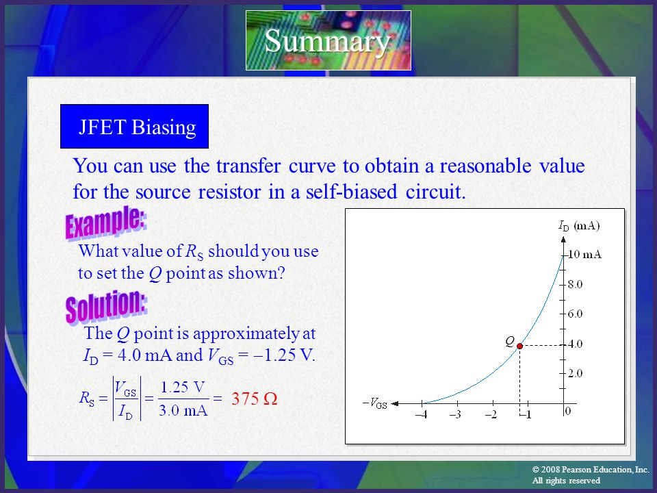 Summary JFET Biasing. You can use the transfer curve to obtain a reasonable value for the source resistor in a self-biased circuit.