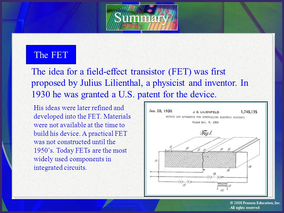 Summary The FET.