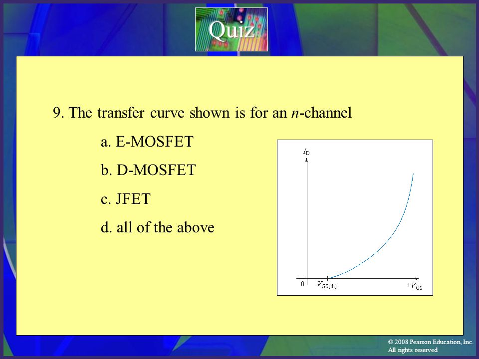 Quiz 9. The transfer curve shown is for an n-channel a. E-MOSFET