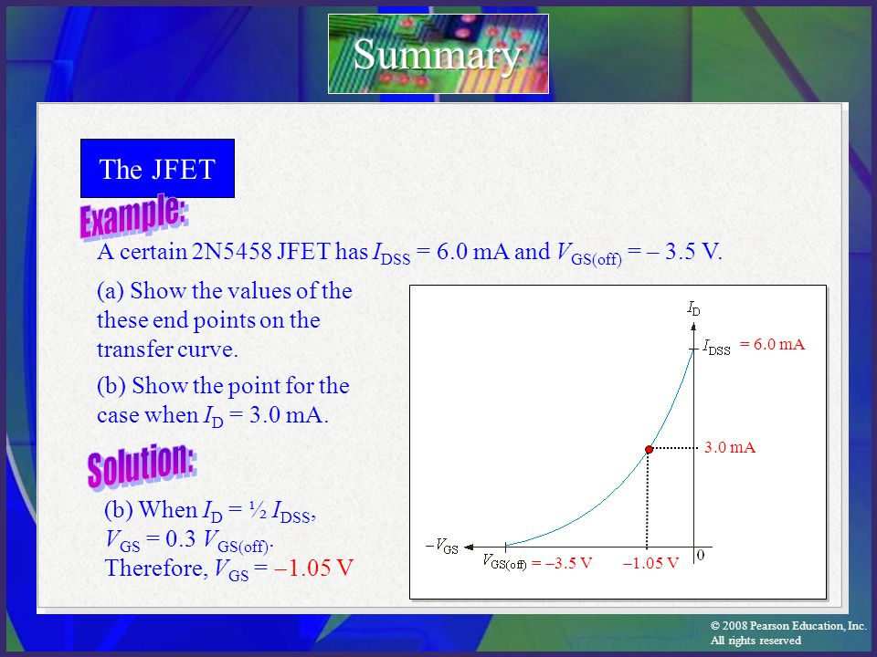 Summary The JFET Example: Solution: