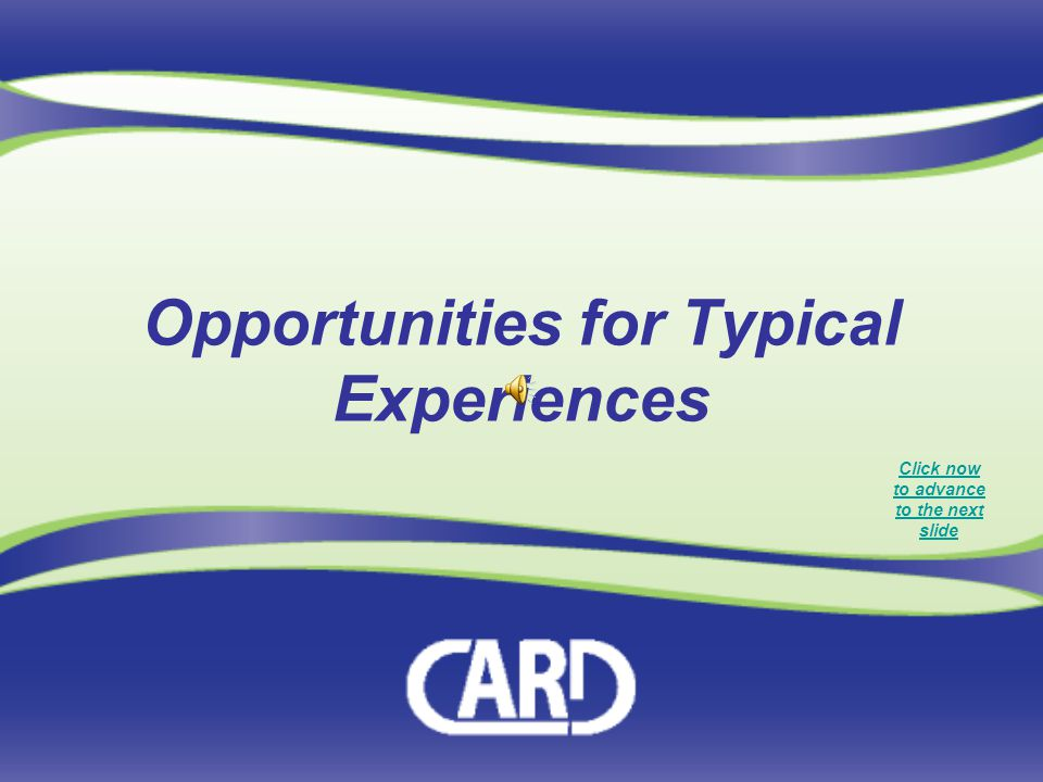 Opportunities for Typical Experiences