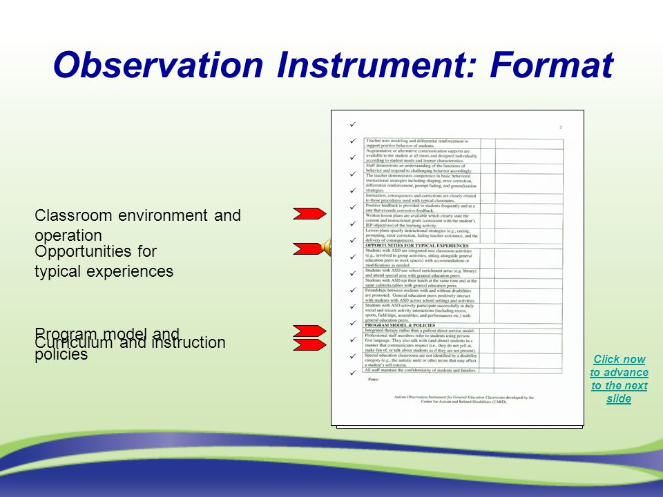 Observation Instrument: Format Click now to advance to the next slide