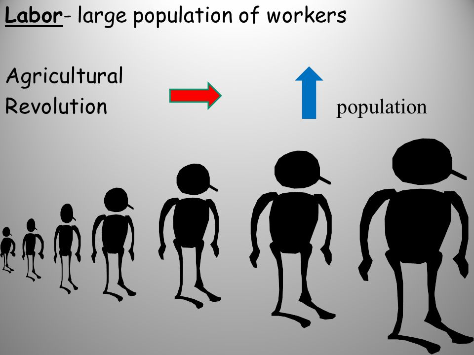 Labor- large population of workers Agricultural Revolution population