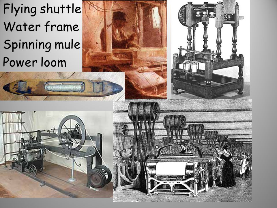 Flying shuttle Water frame Spinning mule Power loom