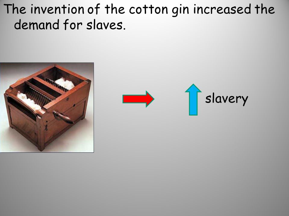 The invention of the cotton gin increased the demand for slaves.