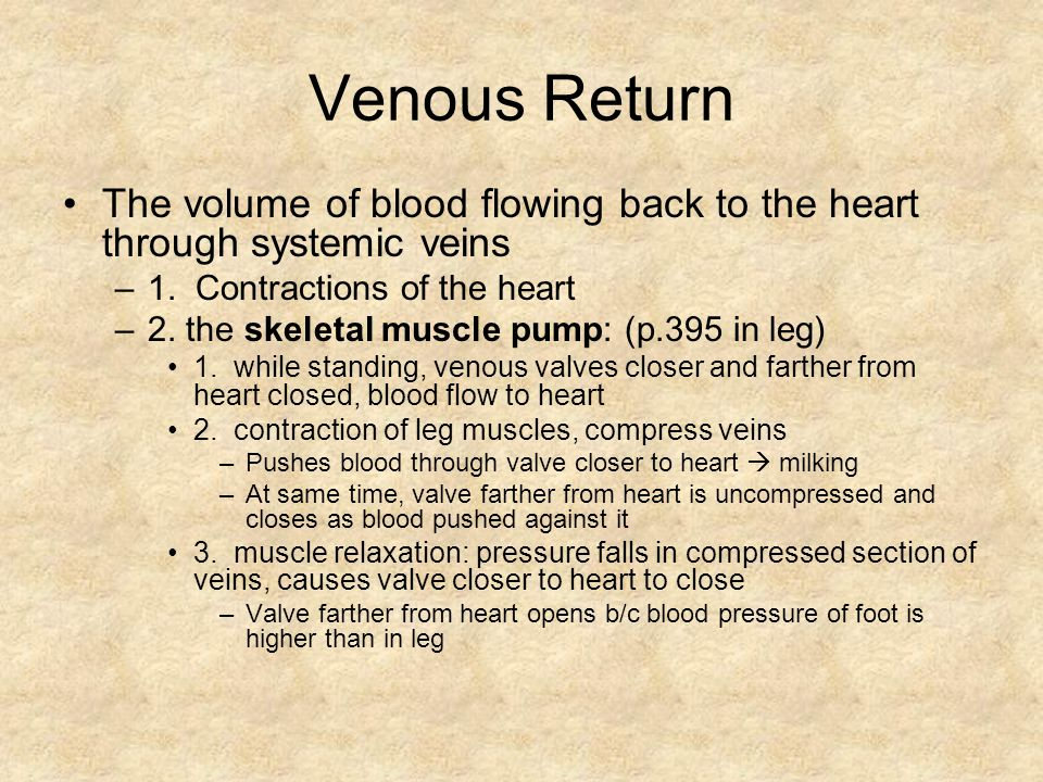 Venous Return The volume of blood flowing back to the heart through systemic veins. 1. Contractions of the heart.