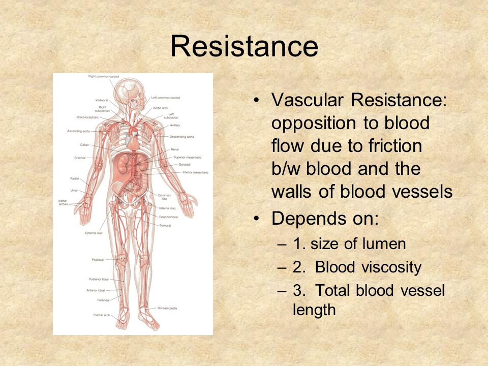 Resistance Vascular Resistance: opposition to blood flow due to friction b/w blood and the walls of blood vessels.