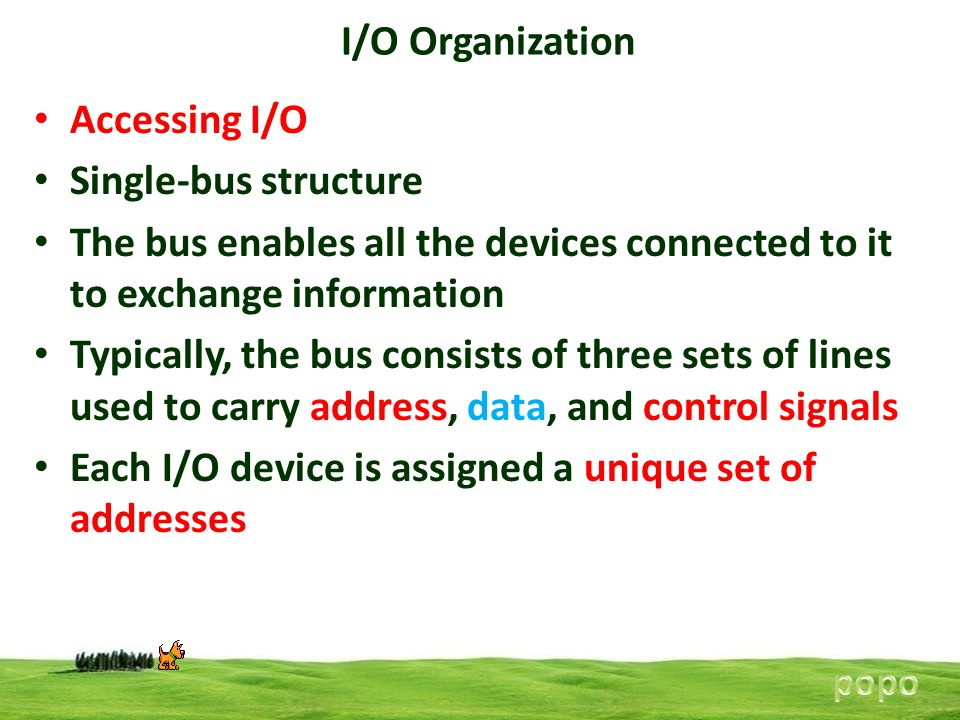 Each I/O device is assigned a unique set of addresses