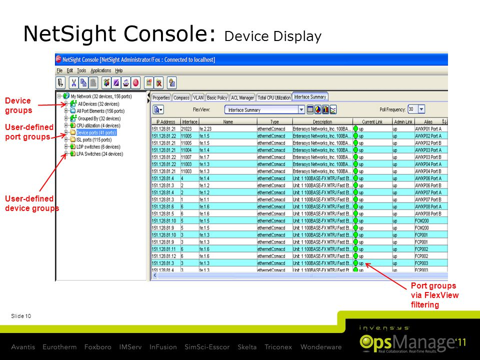 NetSight Console: Device Display