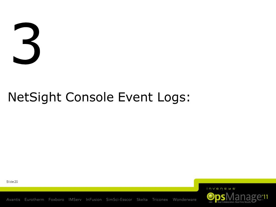 NetSight Console Event Logs: