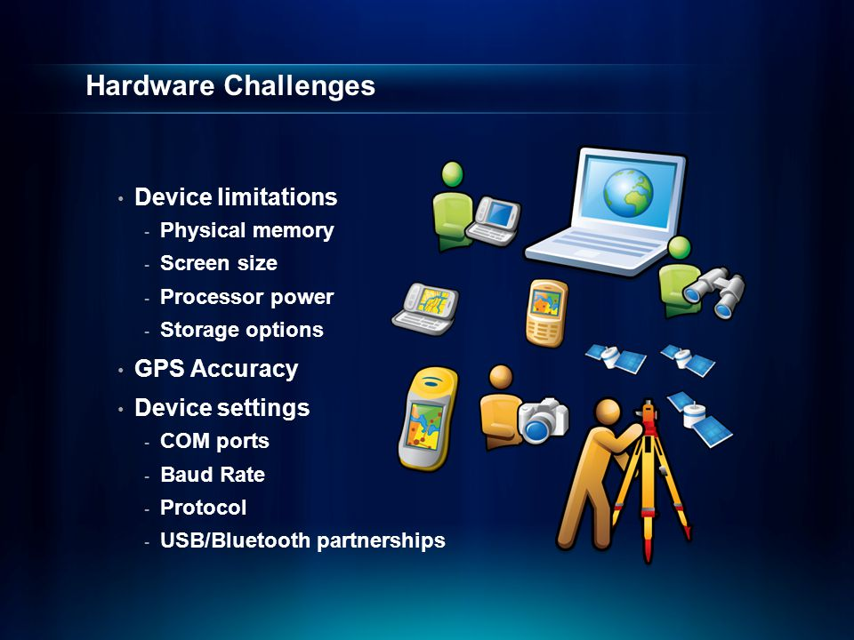 Hardware Challenges Device limitations GPS Accuracy Device settings