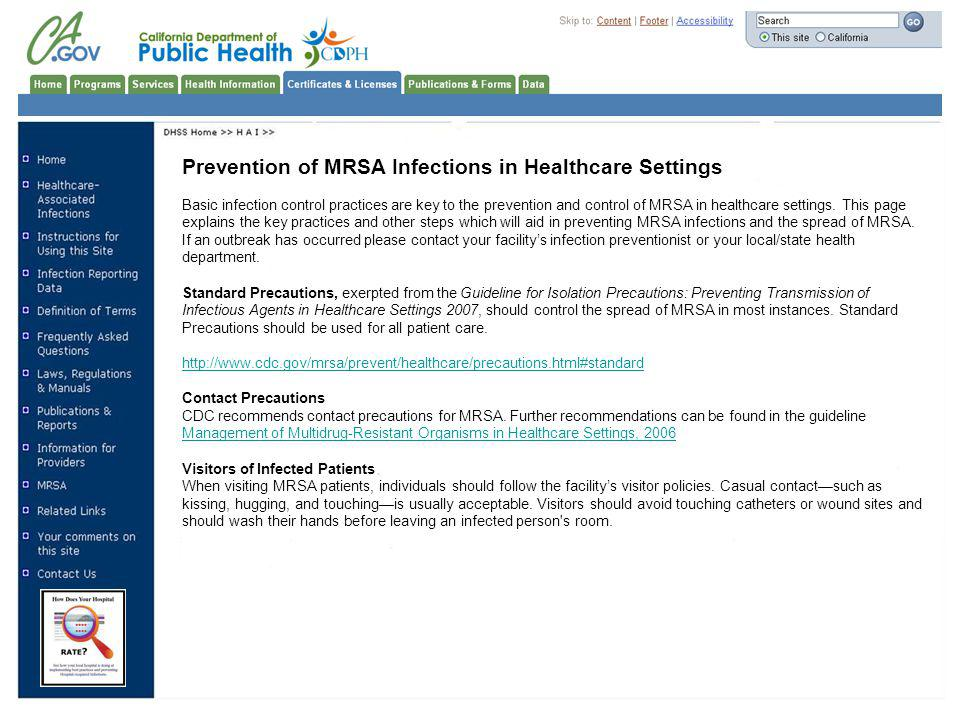 Prevention of MRSA Infections in Healthcare Settings
