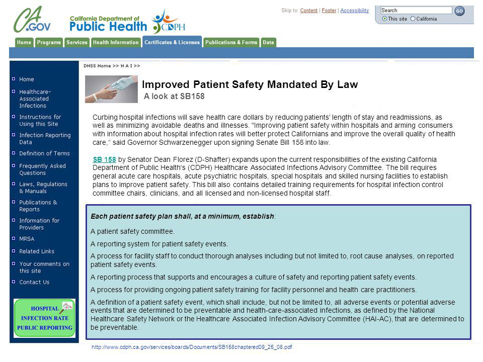 Improved Patient Safety Mandated By Law