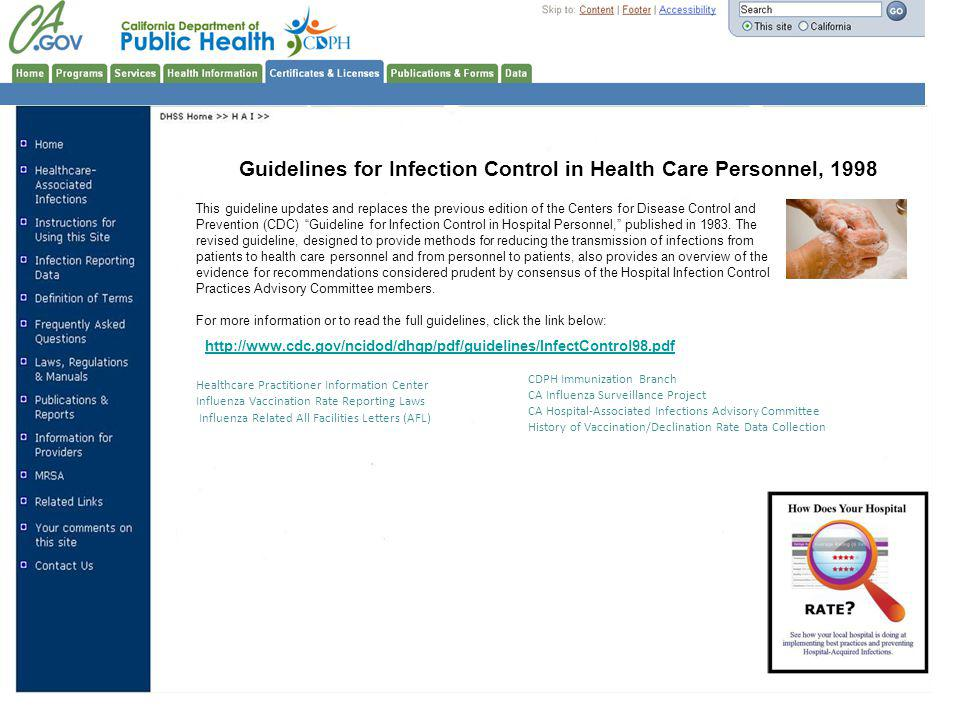 Guidelines for Infection Control in Health Care Personnel, 1998
