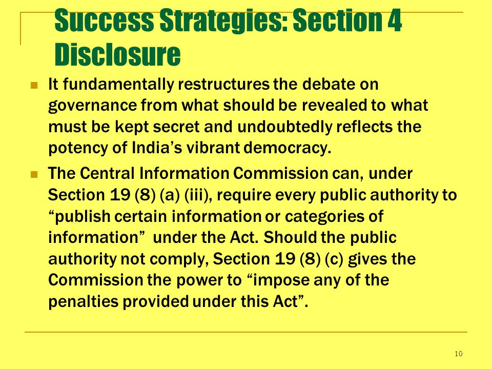 Success Strategies: Section 4 Disclosure