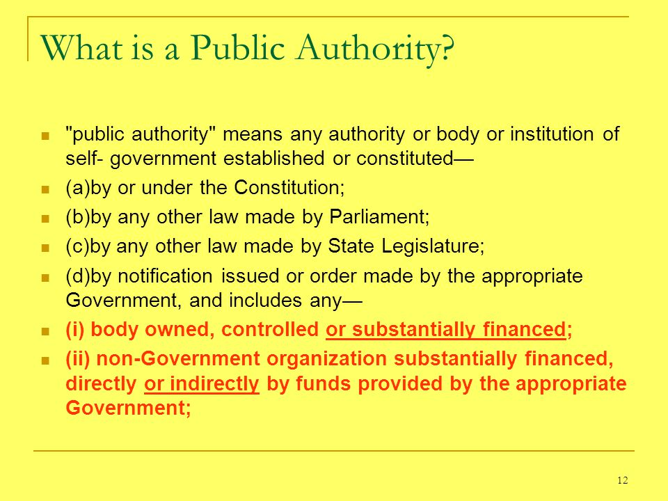 What is a Public Authority