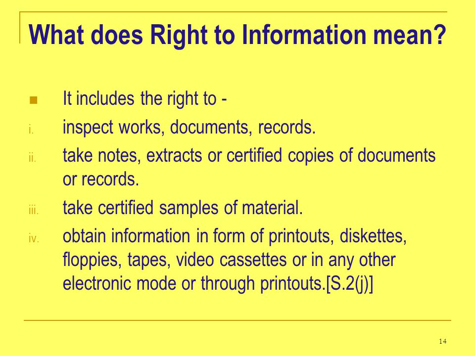 What does Right to Information mean