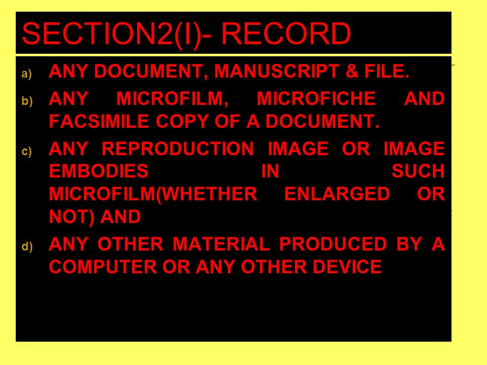 SECTION2(I)- RECORD INCLUDES