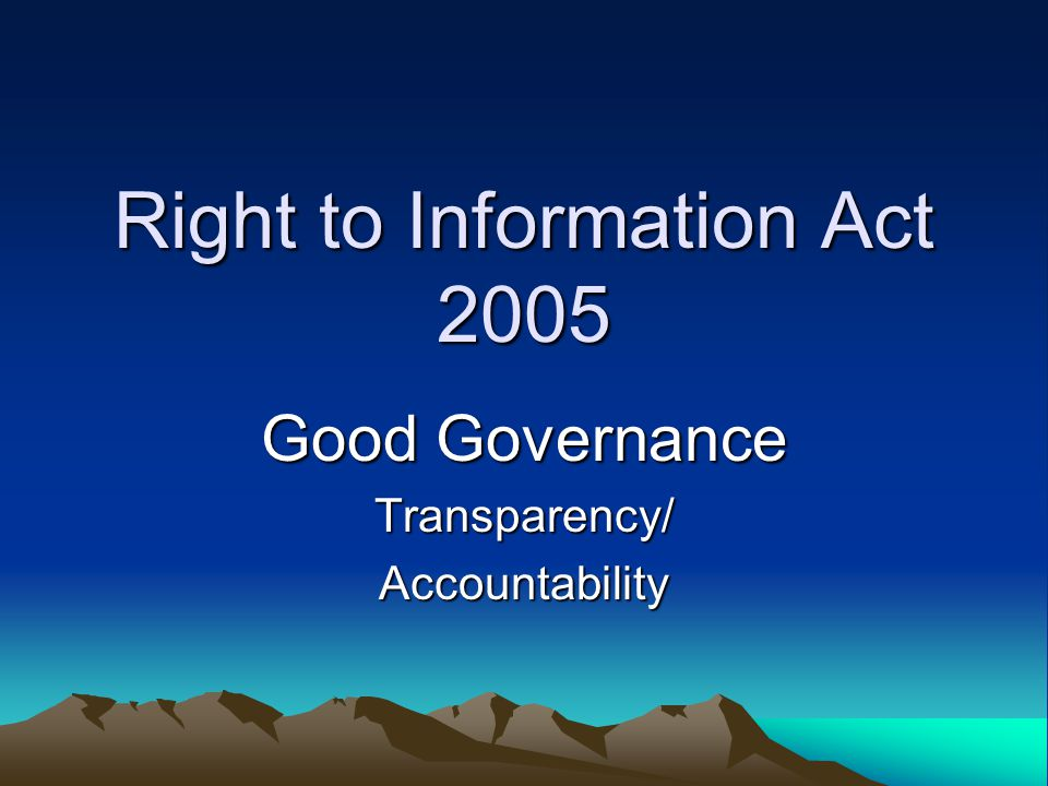 Right to Information Act 2005