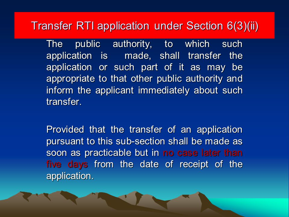 Transfer RTI application under Section 6(3)(ii)