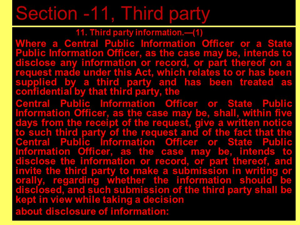 Section -11, Third party Information
