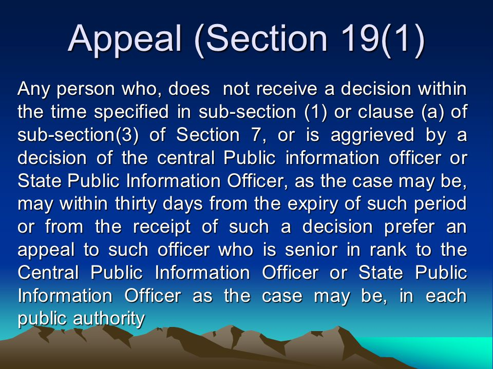 Appeal (Section 19(1)