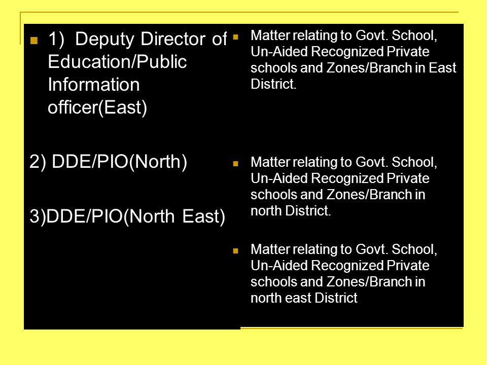 2 1) Deputy Director of Education/Public Information officer(East)