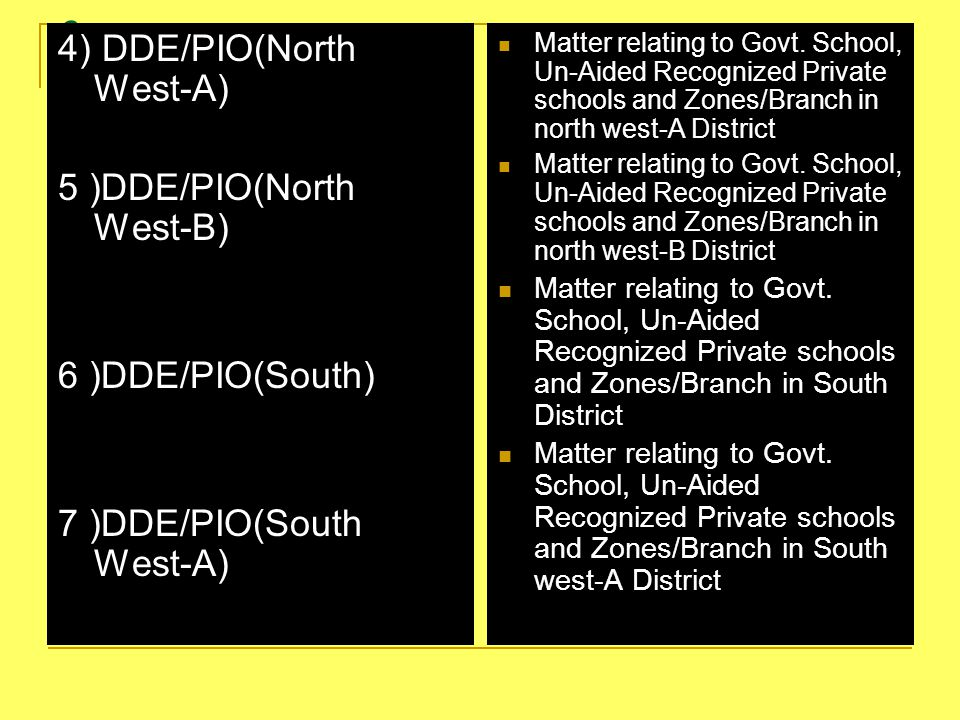 3 4) DDE/PIO(North West-A) 5 )DDE/PIO(North West-B) 6 )DDE/PIO(South)