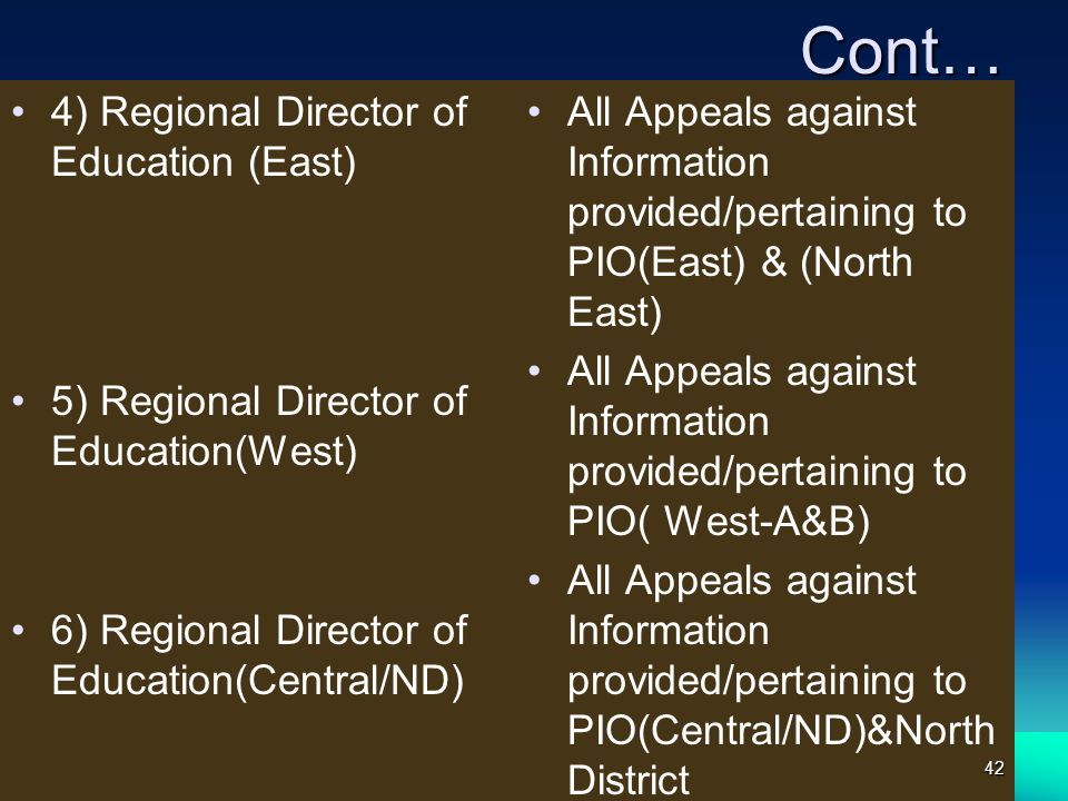 Cont… 4) Regional Director of Education (East)