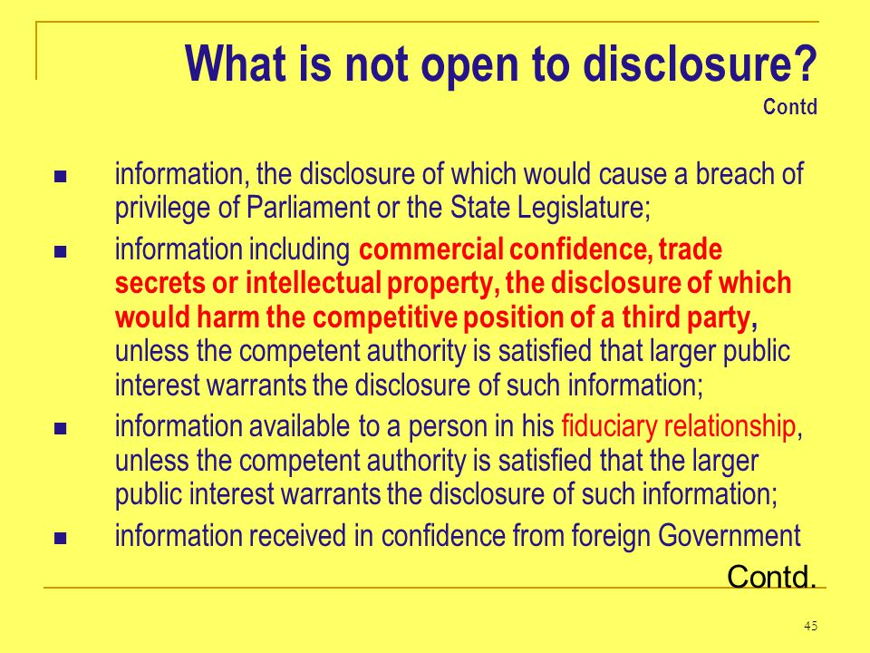 What is not open to disclosure Contd