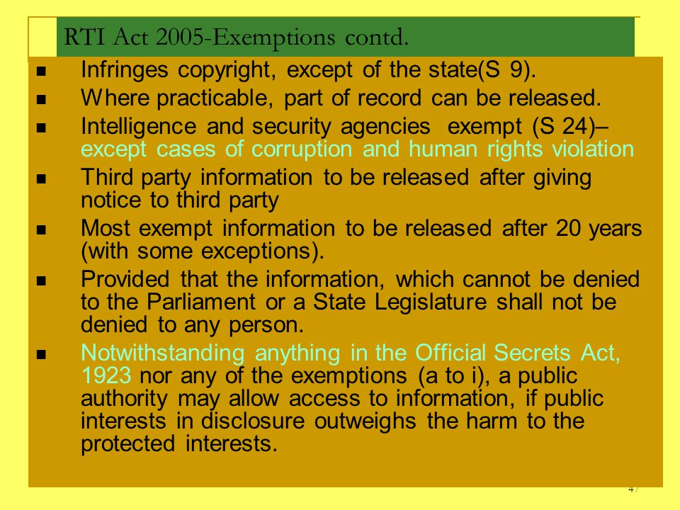 RTI Act 2005-Exemptions contd.