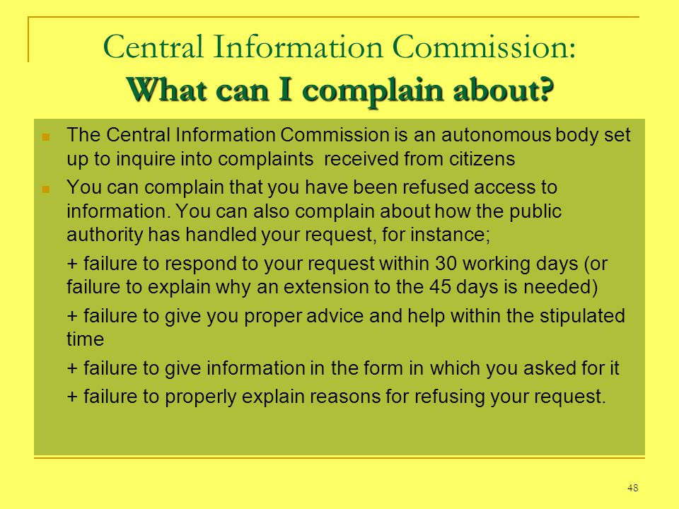 Central Information Commission: What can I complain about