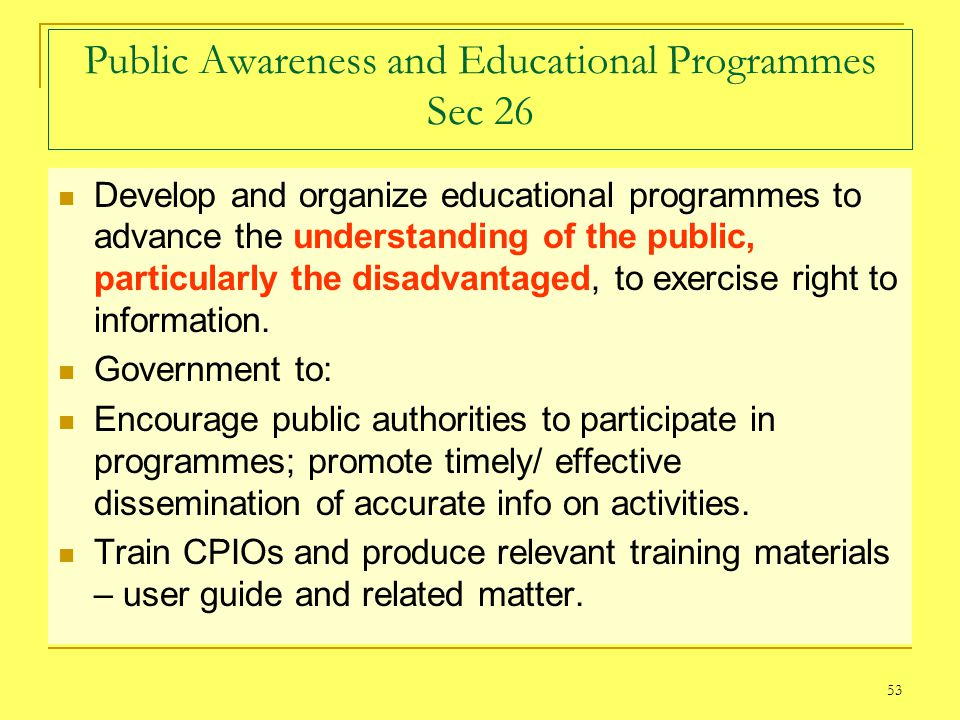 Public Awareness and Educational Programmes Sec 26