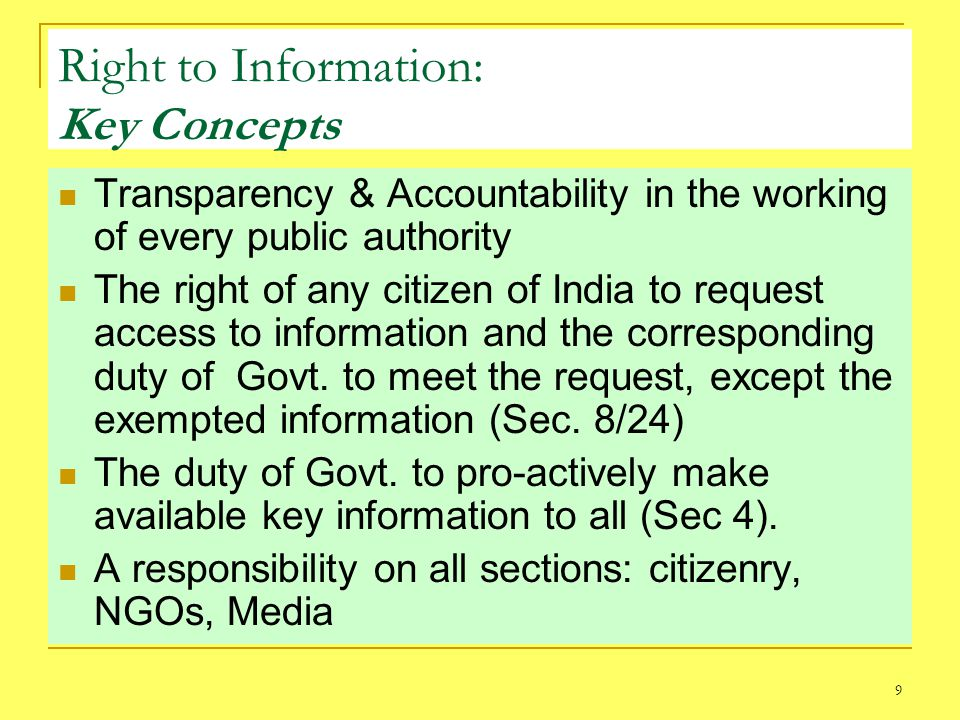 Right to Information: Key Concepts