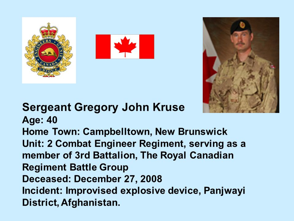 Sergeant James Patrick Macneil Hometown: Glace Bay, NS - ppt