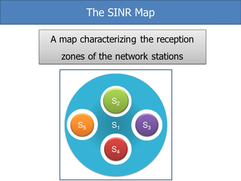 A map characterizing the reception zones of the network stations