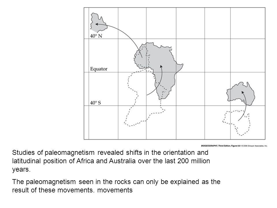 Studies of paleomagnetism revealed shifts in the orientation and latitudinal position of Africa and Australia over the last 200 million years.