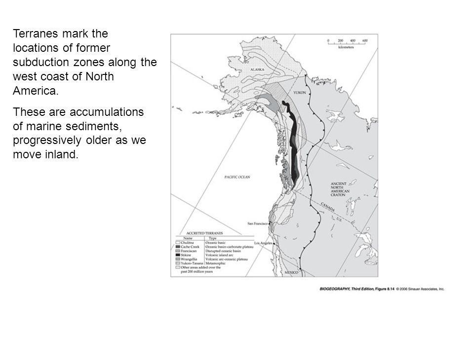 Terranes mark the locations of former subduction zones along the west coast of North America.