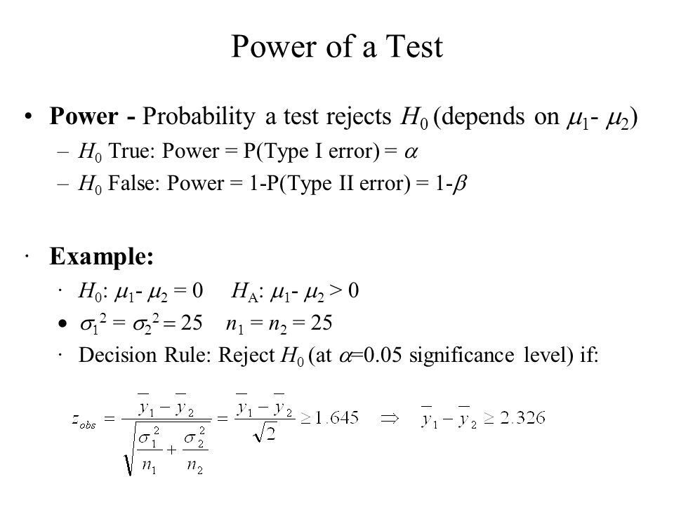 Power of a Test Power - Probability a test rejects H0 (depends on m1- m2) H0 True: Power = P(Type I error) = a.