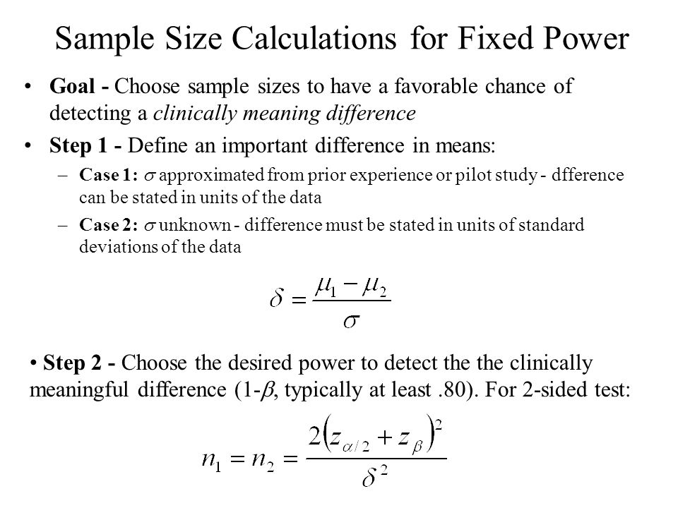 Sample Size Calculations for Fixed Power