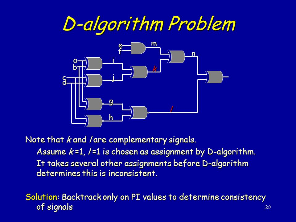 D-algorithm Problem Note that k and l are complementary signals.